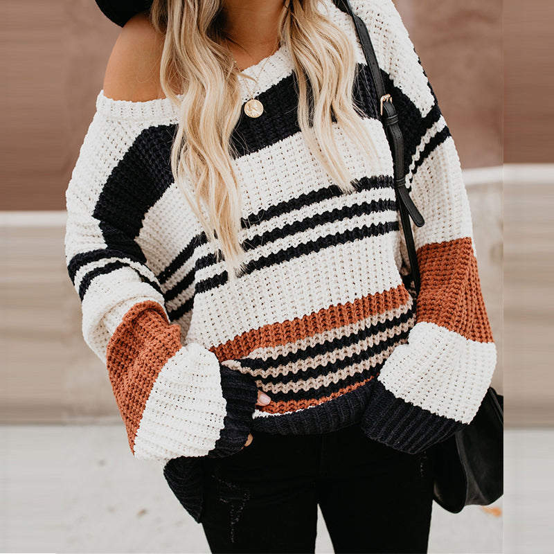 Round Neck Long Sleeve Color Block Knitting Sweaters