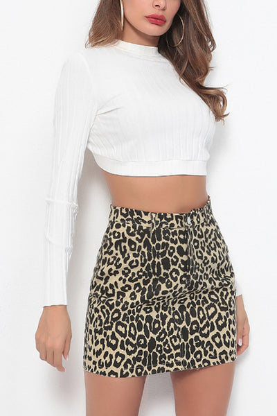 Leopard Printed  Basic  Skirts