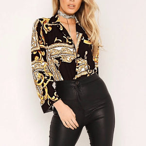 Sexy Deep V Printed Colour Long Sleeve Blouse