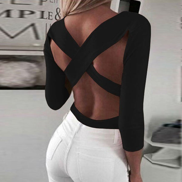 Deep V Neck  Backless  Plain T-Shirts