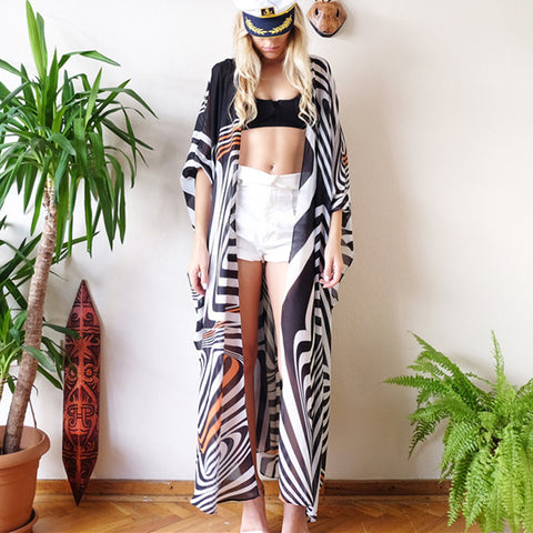 Zebra Black And White Striped Bikini Outer Cover Sunscreen Shirt
