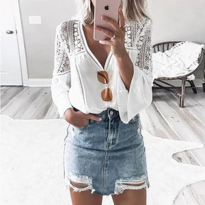 Fashion V-Neck Lace Patchwork Flared Sleeve Blouse
