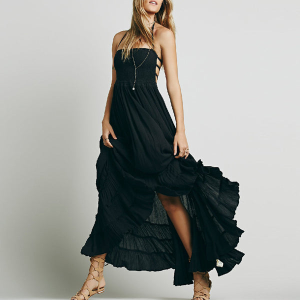 Sexy Open Back Hanging Neck Maxi Dress
