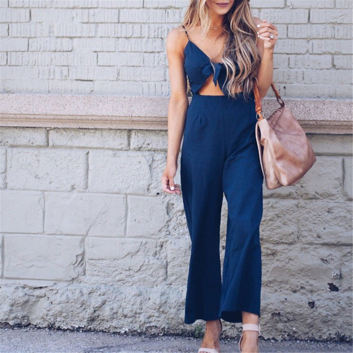 Sexy Deep V Collar Knotted Slim Jumpsuits