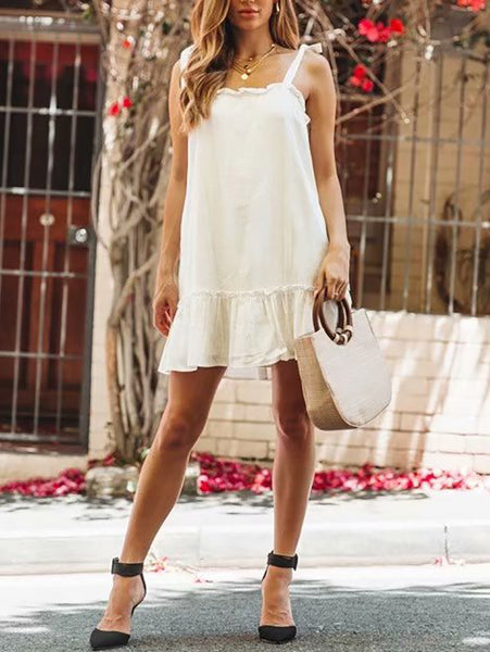 Fashion Off-Shoulder Ruffled Belted Mini Dresses