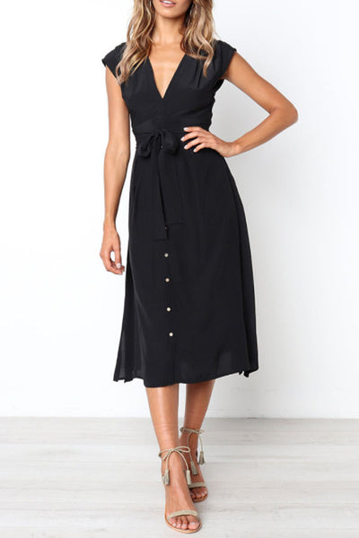 V Neck  Single Breasted  Belt  Plain  Sleeveless Maxi Dresses
