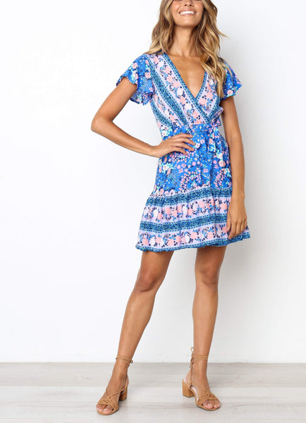Casual Sexy Deep V   Neck Frenulum Slim National Style Floral Print Mini Dresses