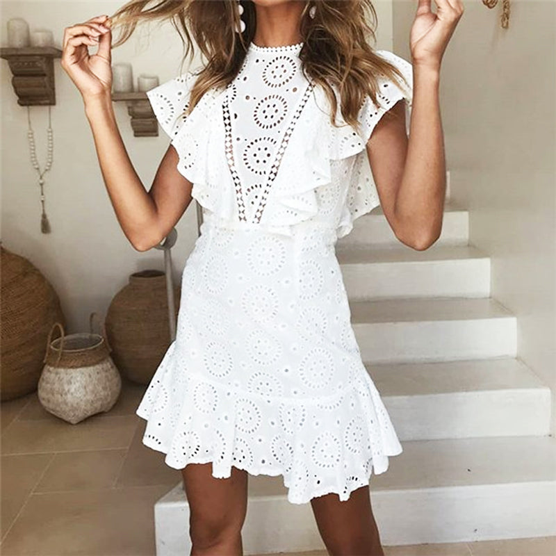 Sexy Lace Hollow Stitching Lotus Leaf Edge Mini Dress