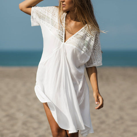 V-Neck Summer Beach Patchwork Beach Bikini Cover Ups