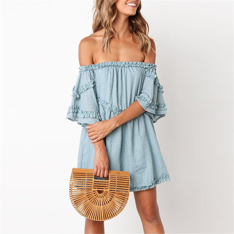 Off Shoulder Short Sleeves Loose Big Pendulum Dress