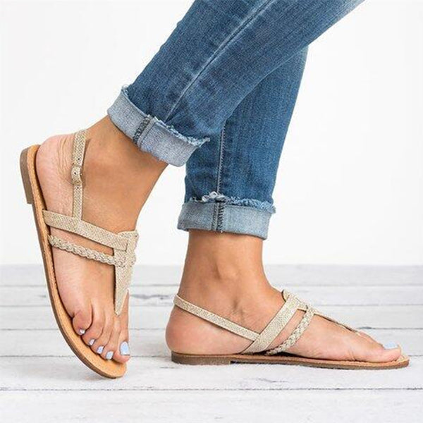 Flat Peep Toe Casual Date Flat Sandals