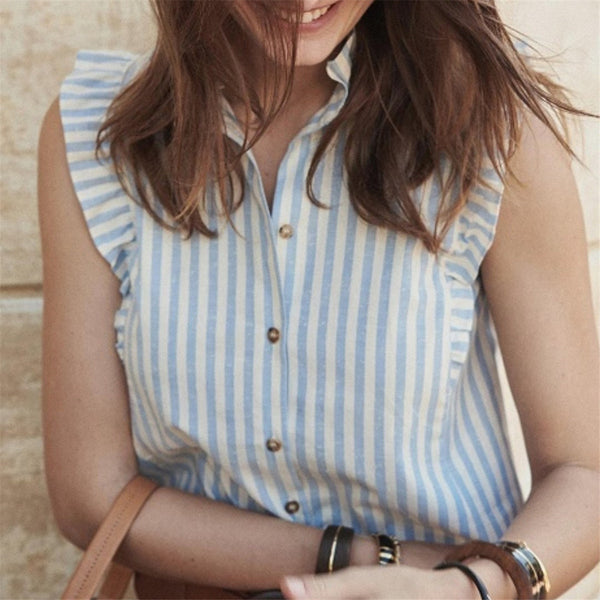 Fashion Flying Sleeve Strip Single Breasted Blouses