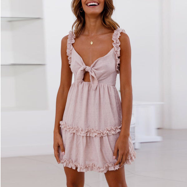 Temperament Ruffled Lace-Up Openwork Dress
