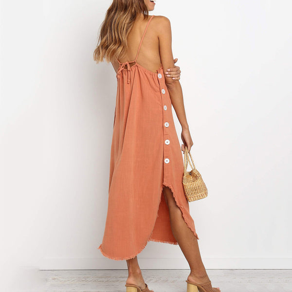 A Halter Dress With Straight Back Straps