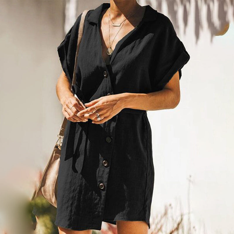 Lapel V Neck Single Breasted Short Sleeve Plain Casual Dresses