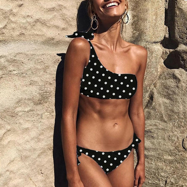 One Shoulder Polka Dots Two Pieces