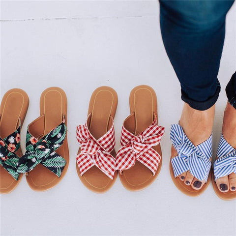 Printed Bow, Versatile Sandals And Slippers