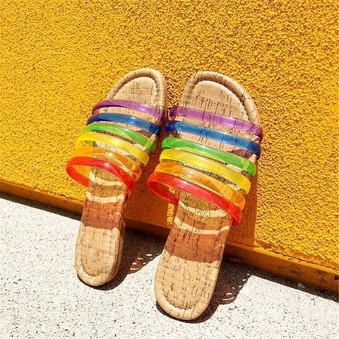 Summer Rainbow Flat Open Toe Slippers