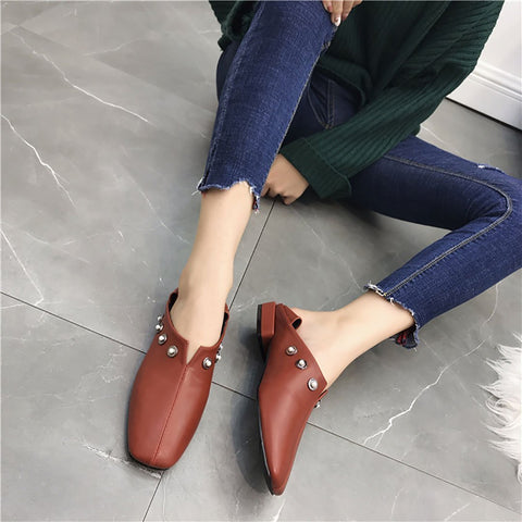 Women's thick heels and velvet casual shoes