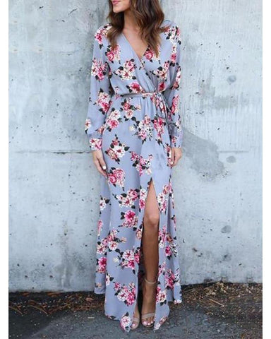 Sexy Floral Long Sleeve Elastic Waist Fork Vacation Dress