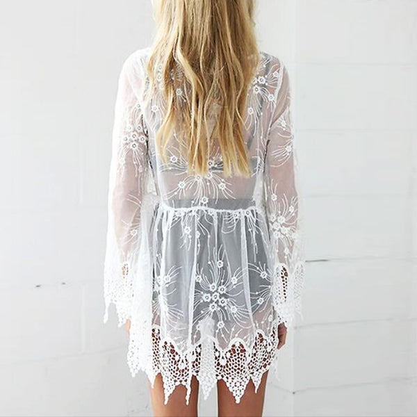 Sexy Mesh Lace Embroidered Hollow Long-Sleeved Sunscreen Mini Dress