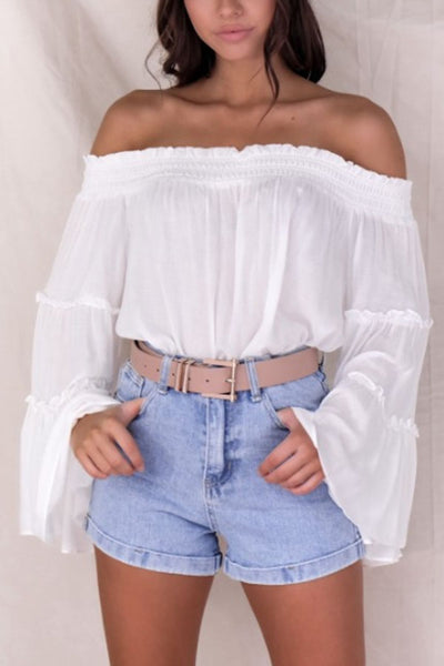 Off Shoulder  Plain  Bell Sleeve  Blouses