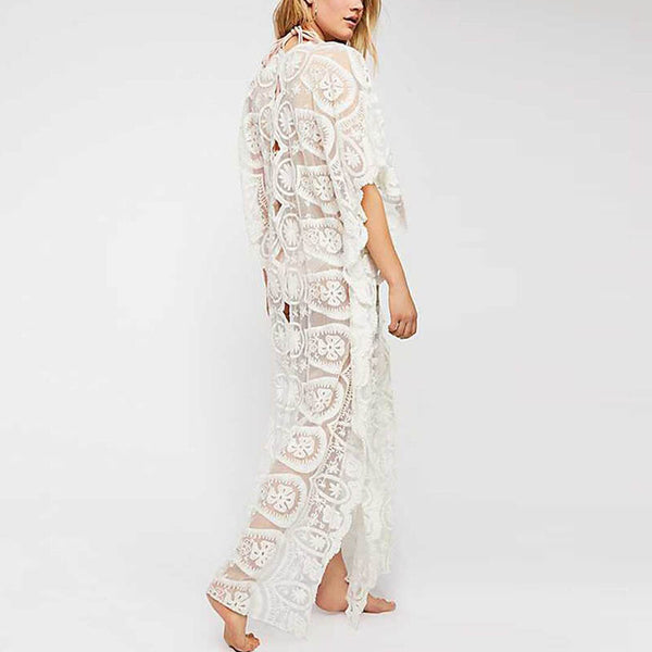 V-Neck Mid-Sleeve Lace Dress