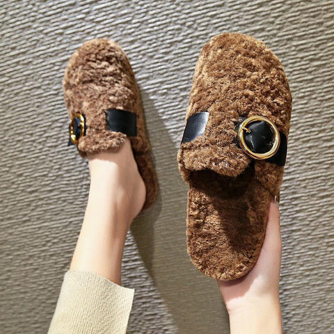Woolen outer baotou flat bottom half slippers