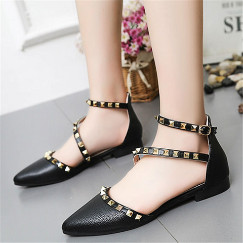 Women's pointed rivet flat sandals
