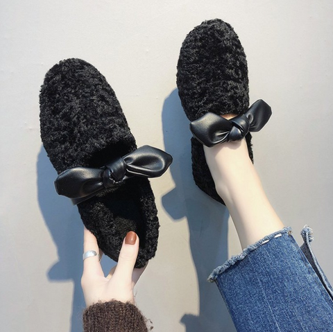 Women's winter lamb fur flat cotton shoes