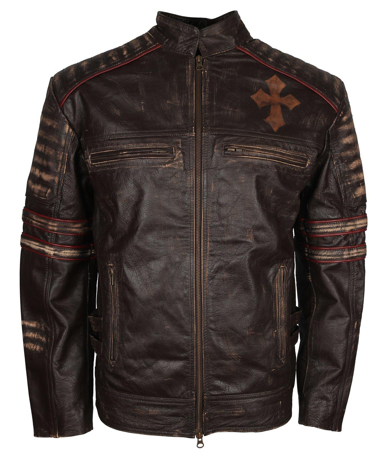 Gothic Leather Biker Jacket Cross