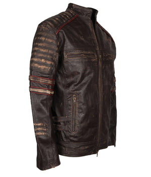 Vintage Leather Jacket with Cross