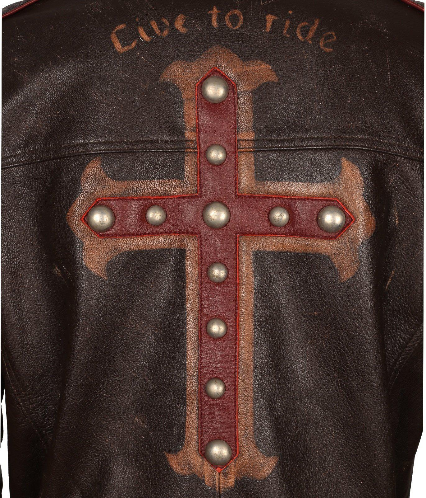 Gothic Leather Jacket Cross Biker