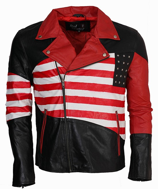 American Flag Leather Jacket Stars and Stripes