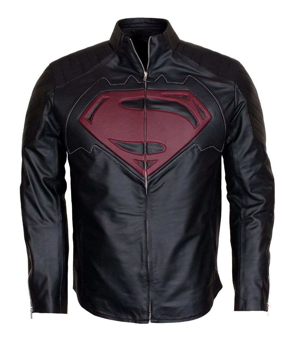 Batman Vs Superman Red Logo Embossed Leather Jacket Outerwear For Men
