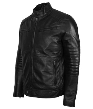 Mens Biker Skull with Wings Leather Jacket