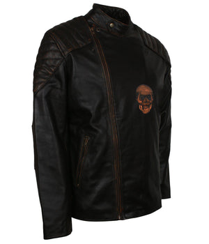 Mens Black Skull Biker Leather Jacket