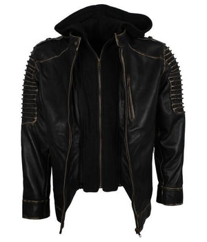 Black Hoodie The Killing Joke Moto Leather Jacket