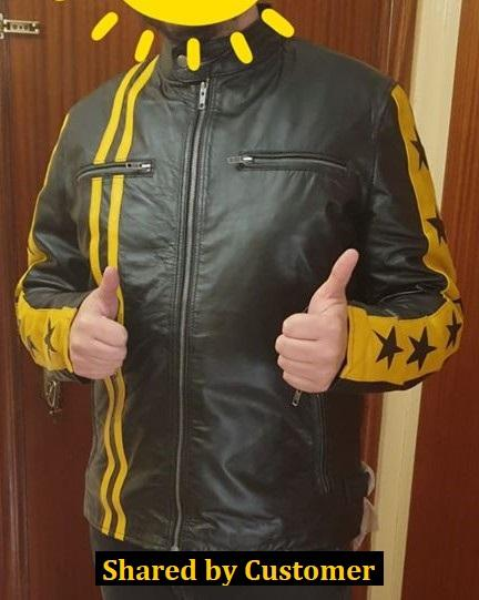 Men's Black Yellow Star Stripes Genuine Leather Motorcycle Jacket