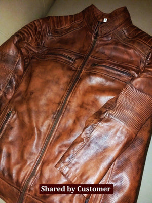 Brown Leather moto cafe racer genuine leather jacket hand waxed customer
