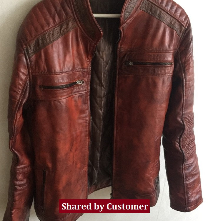 Men's Brown Waxed Cafe Racer Leather Motorcycle Jacket