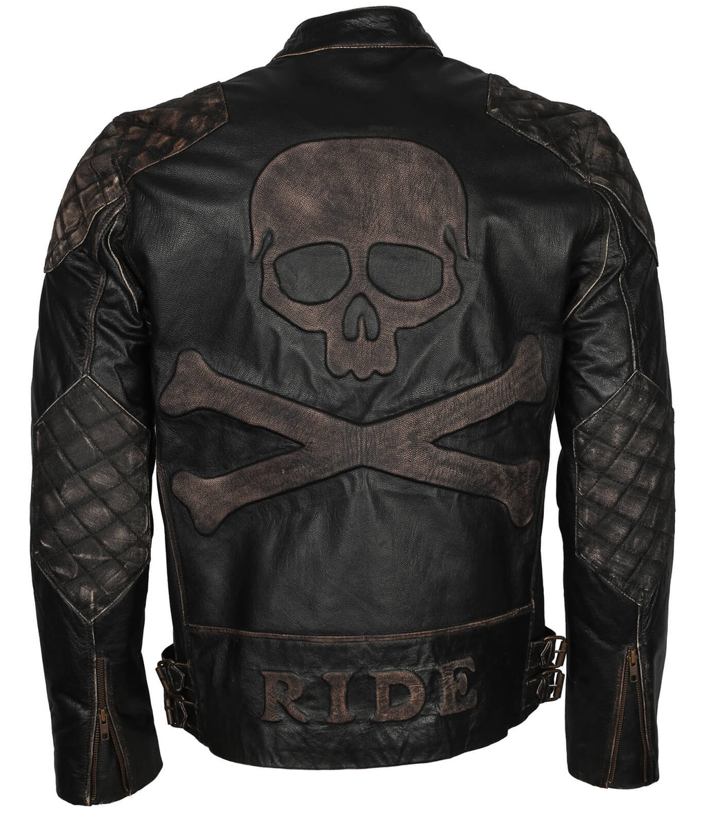 Skull and Crossbones Biker Leather Jacket Mens