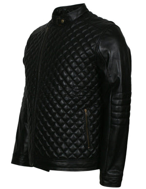 Diamond Quilted Leather Jacket Mens