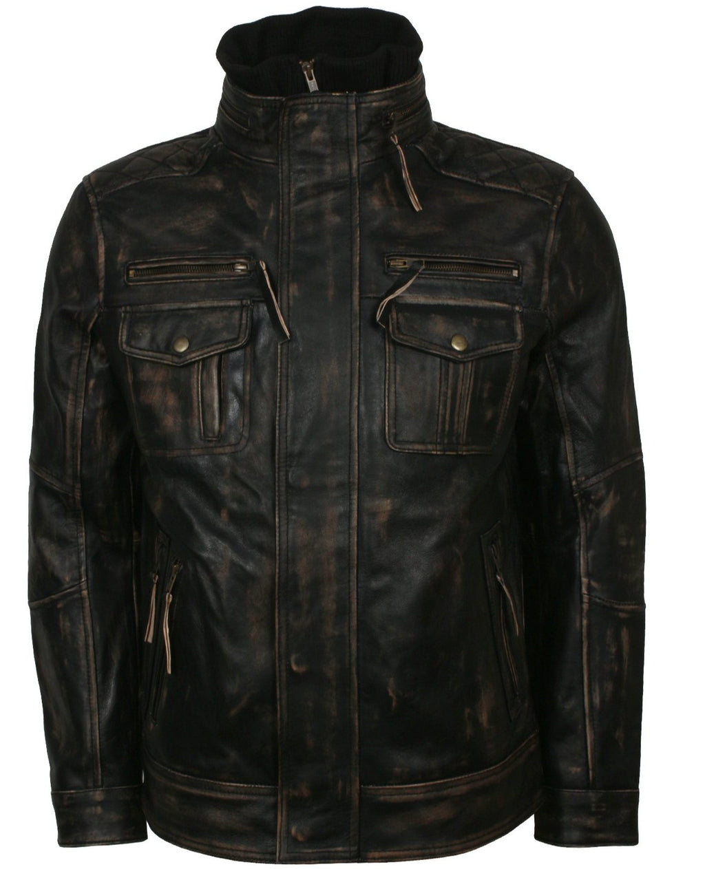 Distressed Leather Biker Jacket Mens