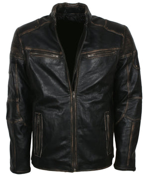 Distressed Leather Jacket Bikers In Leather