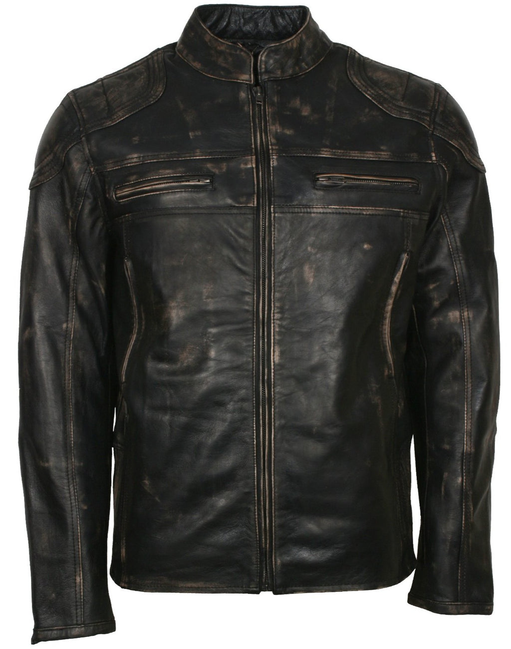 Distressed Leather Jacket Men in Black