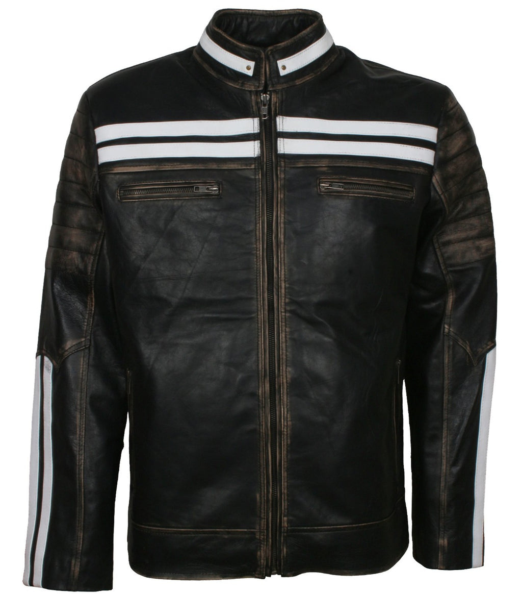 Distressed Leather Jacket With White Stripes