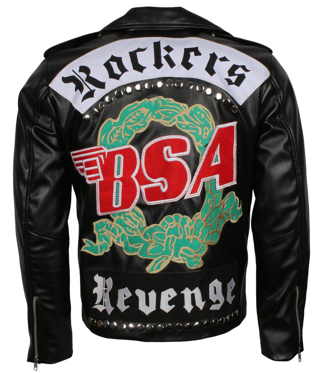 Men's BSA Faith Rockers Revenge George Michael Black Genuine Leather Motorcycle Biker Jacket