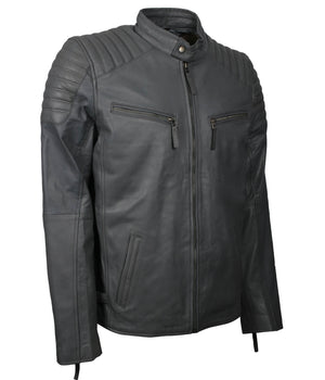 Grey Leather Biker Jacket Mens