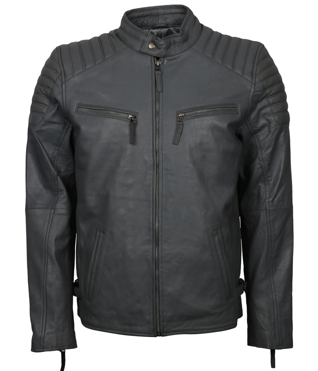 Grey Leather Jacket for Bikers